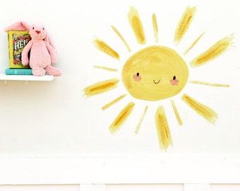 Children's nursery, art, nursery decor, Sunshine, wall decal, Kit Chase artwork, reusable