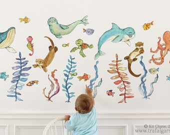 Ocean art, sea animals, Briny Buddies full set, wall decal, Kit Chase artwork, reusable