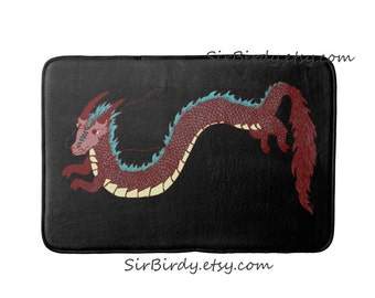 Dragon bath rug mat kitchen mat bedroom plush dragon rug floor mat choose size made to order dragons fantasty decor home decor custom rug