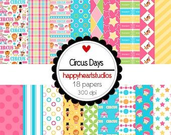 Digital Scrapbooking CircusDays  Pink, Aqua, Circus/Carnival Instant Download