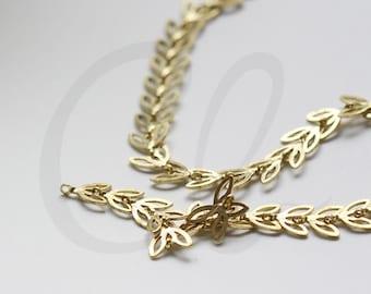 One Foot Raw Brass Chain-Leaf 7.1x6.1mm (3372C00)