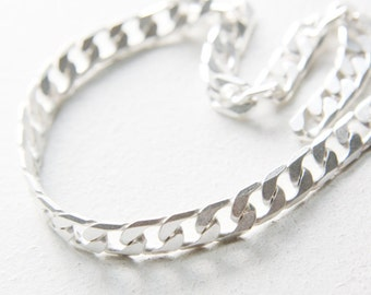 One Foot Premium Matte Silver Plated Brass Base Chain-Curb 12x8mm 422C05