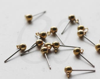 20 Pieces (10 Pairs) Raw Brass Earring Posts with 4mm Ball Size (3598C-V-246)