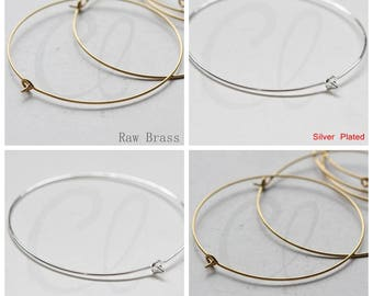 Brass Base Round Earring Finding - Earring Hook - Earring Hoop 50x0.8mm (3735C-V-230)