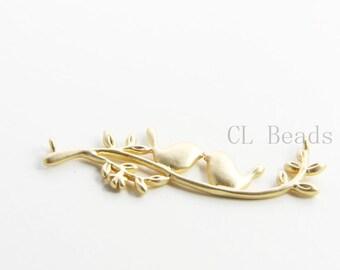 2pcs Matte 16K Gold Plated Brass Base Links Bird on Branch 43x16mm 8356C-S-138