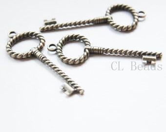 30pcs Oxidized Silver Tone Base Metal Charms-Key 21x8mm 1991Y-D-169A