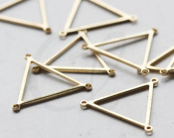 Triangle Earring Triangle Pendant Brass Findings 60x13mm Rhodium Plated Triangle Blanks Wholesale 3 Holes Blank Triangle Charms
