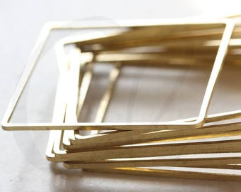 10 Pieces Raw Brass Square Blank Ring - Square 40mm (3606C-V-52)