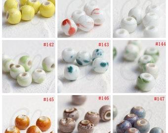 30 Pieces Ceramic Beads - Near Round 10x8mm (G325O)