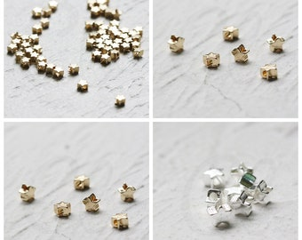 Solid Raw Brass Spacers - Star 4x2.5mm (4388C-Q-27)