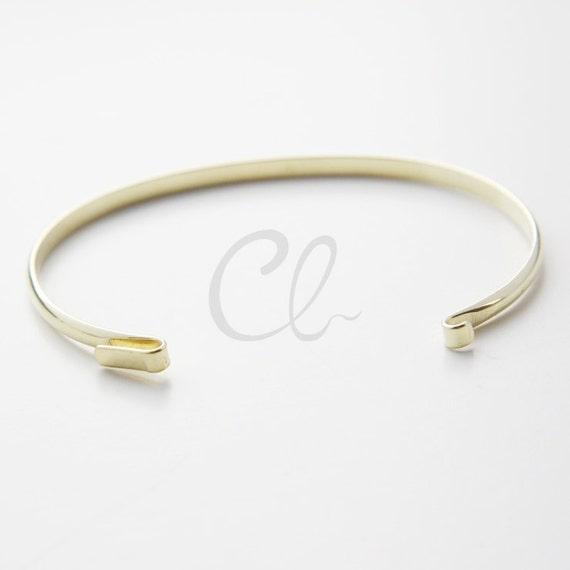 1813C-U-253 Bangle 65x1.4mm 6 Pieces Raw Brass Cuff Bracelets