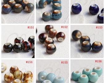 30 Pieces Ceramic Beads - Near Round 10x8mm (G325P)