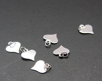 Two Pieces of  Sterling Silver Charm - Heart 10x11mm