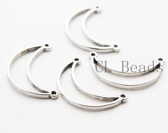6 Pieces Oxidized Silver Tone Base Metal Links - Moon 30x18mm (83C-U-101)