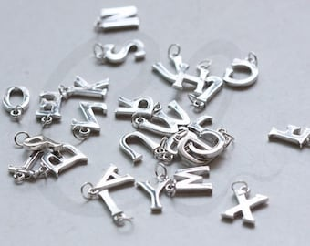One Piece of 925 Sterling Silver Initial Charms -Letter-Alphabet- 8.5x10mm