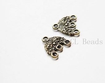 30 Pieces Antique Brass Tone Base Metal 3 to 1 component or earring findings - 15x15mm (11357Y-P-64)A16