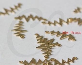 20 Pieces  Raw Brass Links- Lightning 21.9x11.3mm (1728C-E-632)