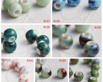 30 Pieces Ceramic Beads - Near Round 10x8mm (G325Q)
