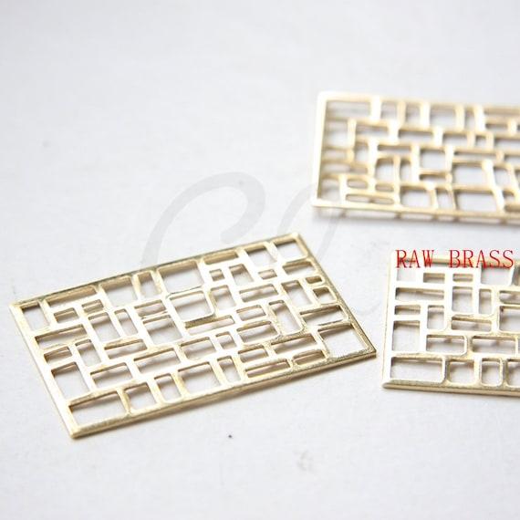 3119C-E-614 46x29mm 10pcs Raw Brass Filigree Rectangle Link