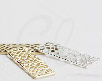 Solid Brass Rectangle Charm - 30x10mm (4684C)