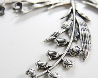 2pcs Oxidized Silver Tone Base Metal Pendants-Flower - Lily - Branches 98x37mm (Large) (307C-B-273A)