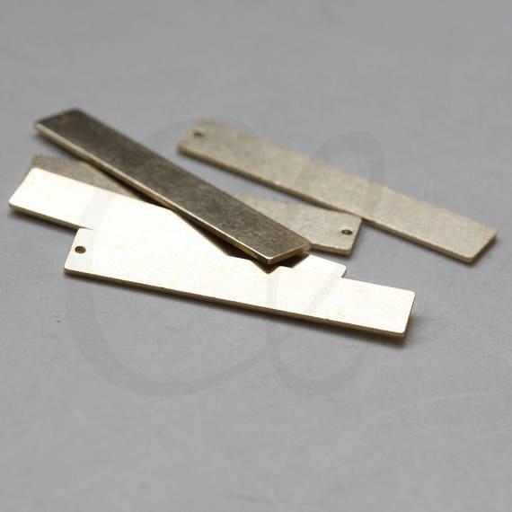 30.1x12.7mm CW-3873C-D-481 10 Pieces Raw Brass Cut Rectangle Pendant