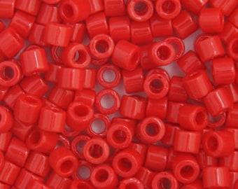 10 Grams Japanese Miyuki Delica 10/0 Beads - Red Opaque - Round 2.2mm (DBM0-723)