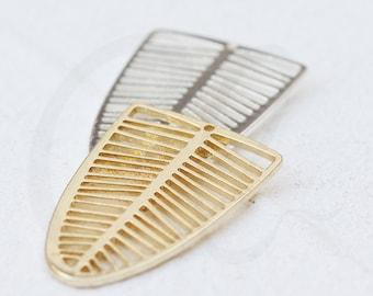 Laser Cut Solid Brass Charm - Leaf 16x25mm (4545C)