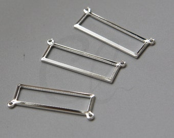 2 Pieces Premium Silver Plated Brass Base Rectangle Link - 25x8mm (3097C-N-98)