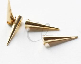 10 Pieces Raw Brass Spike Spacer - 20x5mm (1898C-U-240)