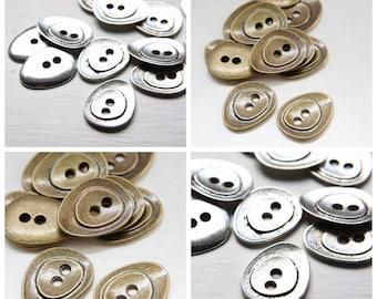 10pcs Oxidized Silver Tone Antique Brass Tone Base Metal Findings-Irregular Button 24x19mm (9279Y)(F-325)(F-326)