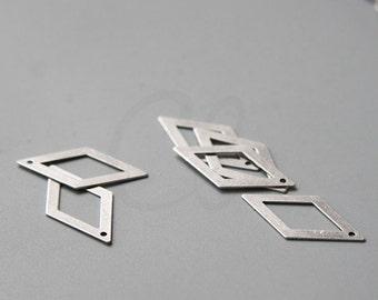 4 Pieces Oxidized Silver Plated Brass Base Rhombus Charm - 26x14mm (3030C-Q-354)