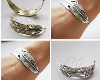 One Piece Antique Brass or Oxidized Silver Tone Base Metal Link - Feather 70x36mm (3113C-M-233)