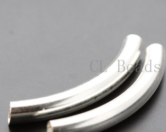 2pcs Sterling Silver Curved Tube - Spacer 5x40mm (564)