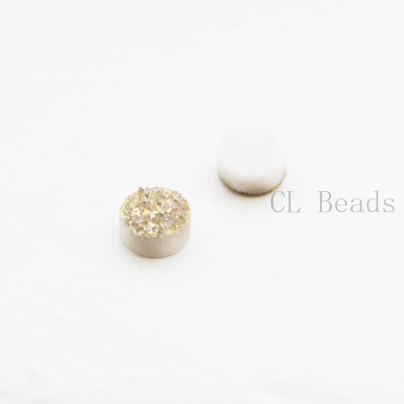 2 Pieces AAA Copper Coated Drusy Quartz Cabochons-Round 8mm