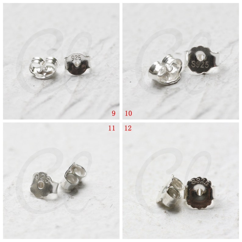 One Piece Solid 925 Silver Sterling Earring Findings SS018 Earring Backing Butterfly Backing