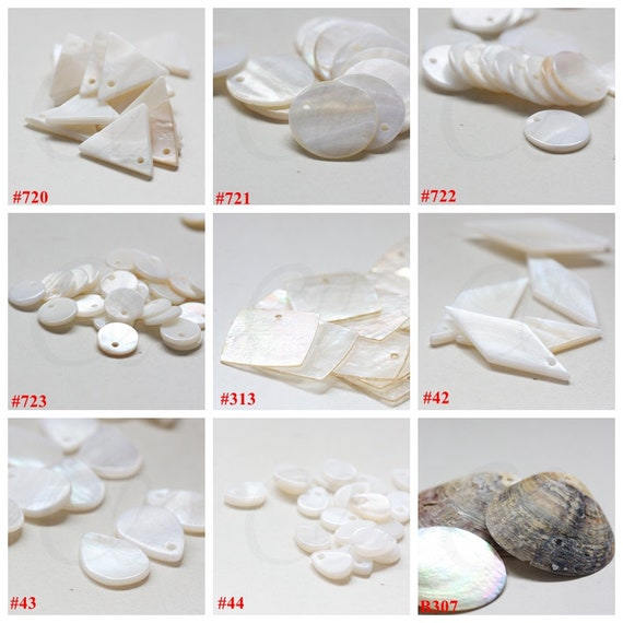G57#10 Geometric designs Fan 10 Pieces Natural Shell Charms