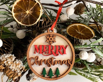 Merry Christmas Wooden 2 layer Ornament 2021 | Tree Ornament 2021 | Happy New Year Ornament | New Ornament | Christmas Gift 2021