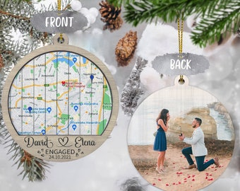 Personalized Wooden Engaged Ornament | 2 layer ornament | Engagement Map Ornament | Couple Gift | Custom Engagement Photo | Map Ornament
