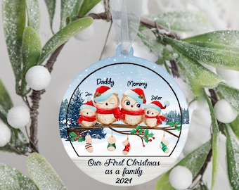 Personalized Cute Christmas Family 2layer Ornament | Christmas Tree Wooden Ornament 2021 | Happy New Year Ornament | Christmas Gift 2021