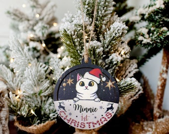 Personalized Cat Christmas Ornament | 2 Layer Wooden Ornament 2021 | Happy New Year Ornament | Cat Lover Ornament | Christmas Gift 2021