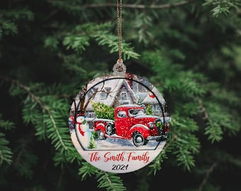 Personalized Christmas Family 2layer Ornament | Christmas Tree Wooden Ornament 2021 | Happy New Year Ornament | Christmas Gift 2021