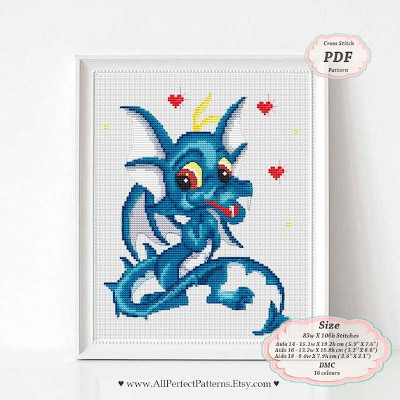 Blue Dragon # 3-cross stitch chart