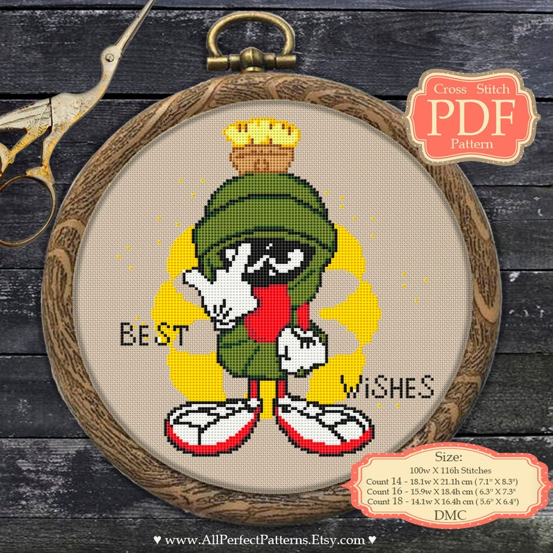 Counted Cross Stitch Pattern of Marvin The Martian Free US Shipping