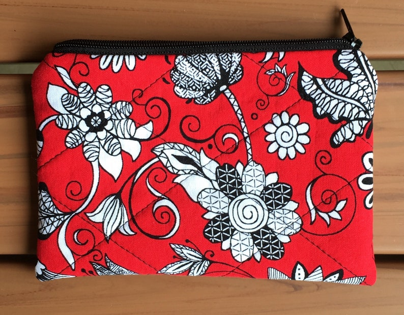 8bdb4cf163f8 Red and White Coin Pouch, Small Zip Top Pouch, Small Travel Pouch, bags &  purses , Hand Made Zip Top Bag, Cotton Fabric Coin Purse