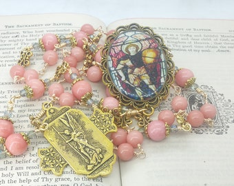 Pink Saint Michael Chaplet, Angelic Crown Catholic Rosary, Unbreakable heirloom~Prayers by the Bead