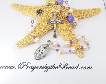 Sterling Pearl Decade Catholic Rosary, Pocket Chaplet~ Confirmation gift, Prayers by the bead