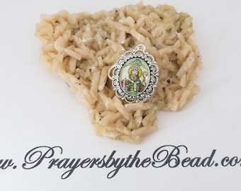 Saint Patrick, Color Cameo, Rosary Marker, Patron St of Engineers, Vintage Cameo space keeper~ Prayers by the Bead