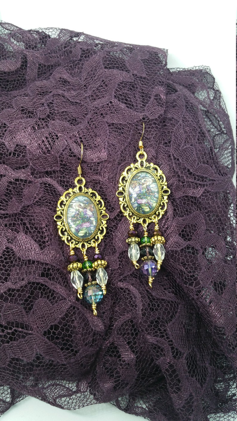 All That Remains Of St Raphaels >> St Raphael Tiffany Gold Angel Earrings Purple Angels Angel Etsy