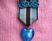 Honour of My Heart Medallion - Lapel Pin with sea blue glass heart